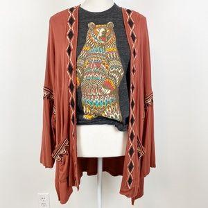POL Embroidered Kimono NWT Burnt Orange M A